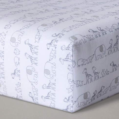 Fitted Crib Sheet Two by Two - Cloud Island™ Gray - image 1 of 1