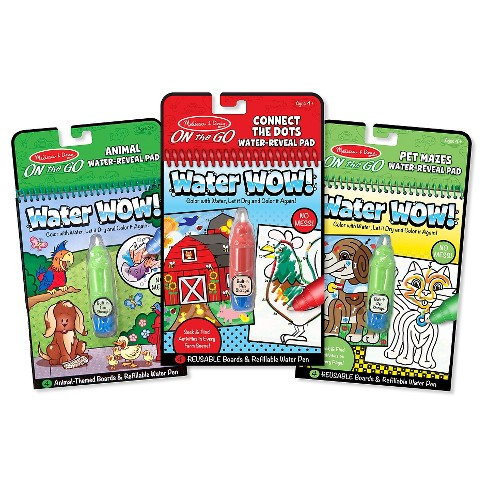 Melissa Doug On The Go Water Wow Water Reveal Activity Pads Set Animal Connect The Dots Pet Mazes