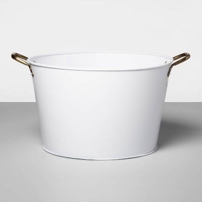 6.6gal Steel Galvanized Beverage Tub White - Opalhouse™