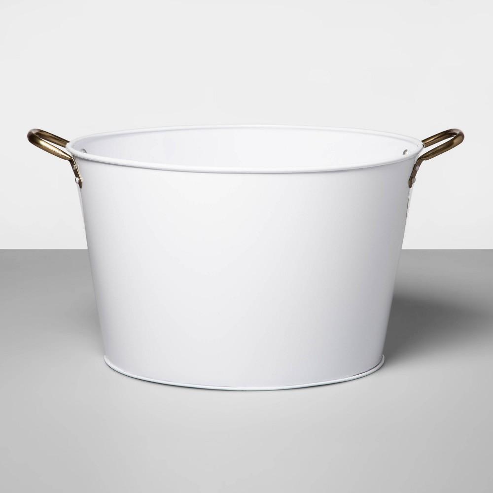 Image of 6.6gal Steel Galvanized Beverage Tub White - Opalhouse