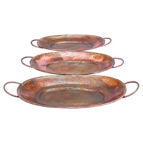 New Traditional Rustic Round Metal Tray Set Copper 3pk - Olivia & May - image 1 of 4