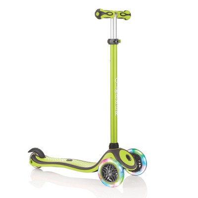 Globber V2 3-Wheel Kids Kick Scooter with LED Light Up Wheels and Adjustable Height and Comfortable Grips for Boys and Girls, Lime