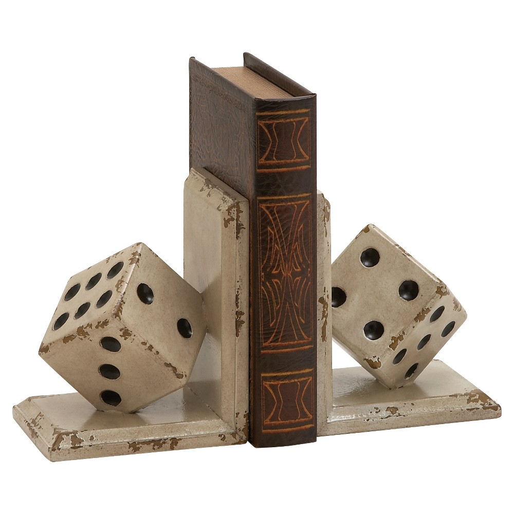 Vintage Reflections Rustic Mdf Tumbling Dice Bookends (8) 2ct - Olivia & May, Multi-Colored
