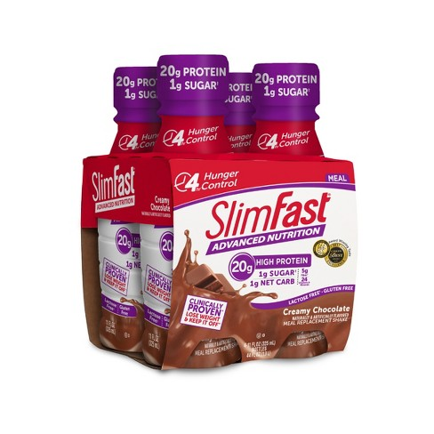 SlimFast Advanced Nutrition High Protein Meal Replacement Shakes - Creamy Chocolate - 11 fl oz/4pk - image 1 of 6