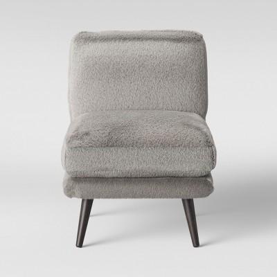 Merveilleux Harper Faux Fur Slipper Chair Gray   Project 62™