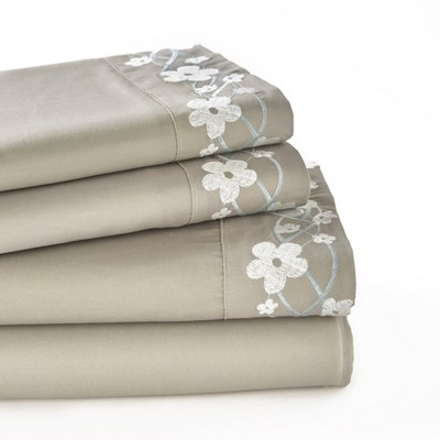 Lakeside Cherry Blossom Bed Sheets Set - Embroidered Mattress Covers : Target
