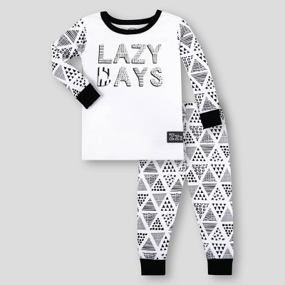 Lamaze Toddler Boys' Organic Cotton Pajama Set - White/Black