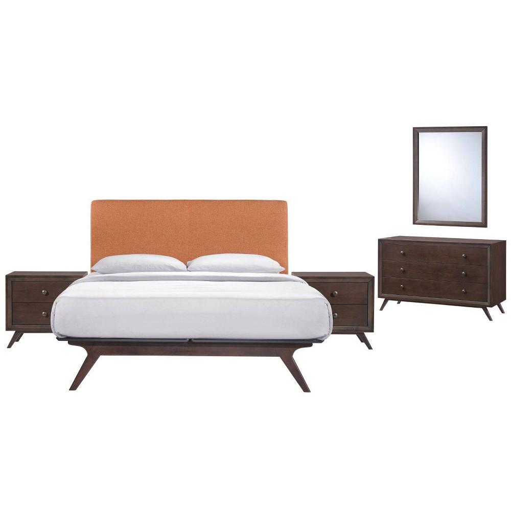 5pc Tracy Bedroom Set - Queen - Cappuccino Orange - Modway, Black/Cappuccino Orange