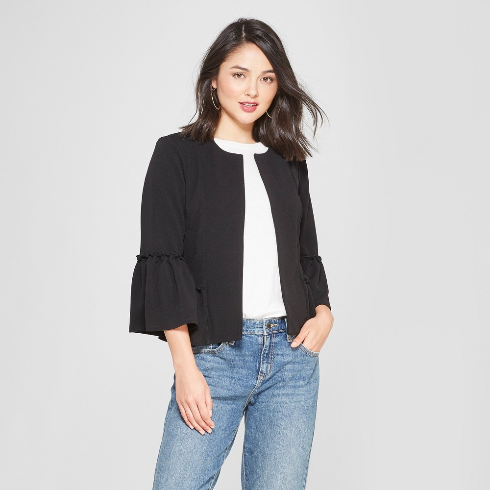Women's Ruffle 3/4 Sleeve Blazer - Lily Star (Juniors') Black XL