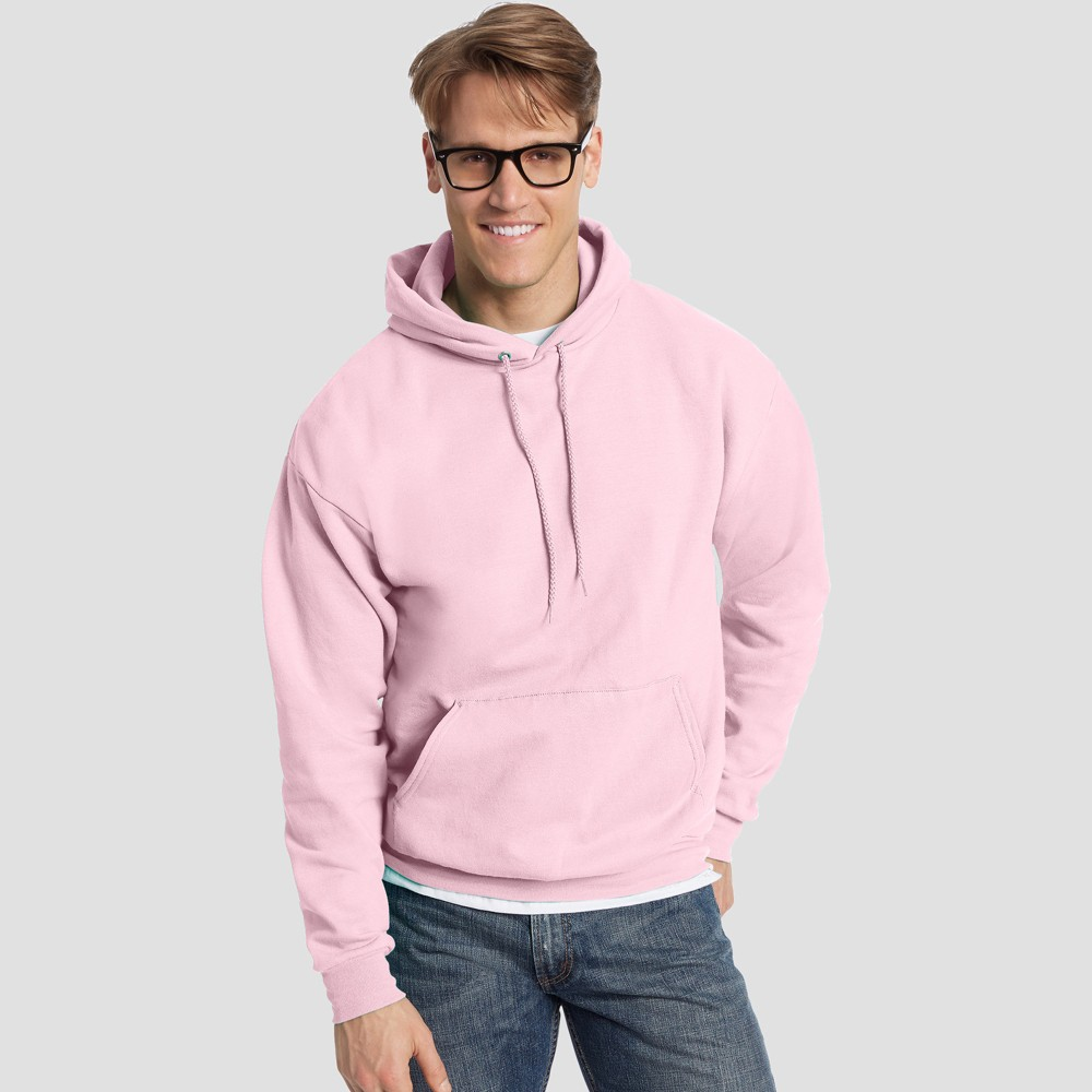 Hanes Men's Big & Tall EcoSmart Fleece Pullover Hooded Sweatshirt - Pale Pink 5XL