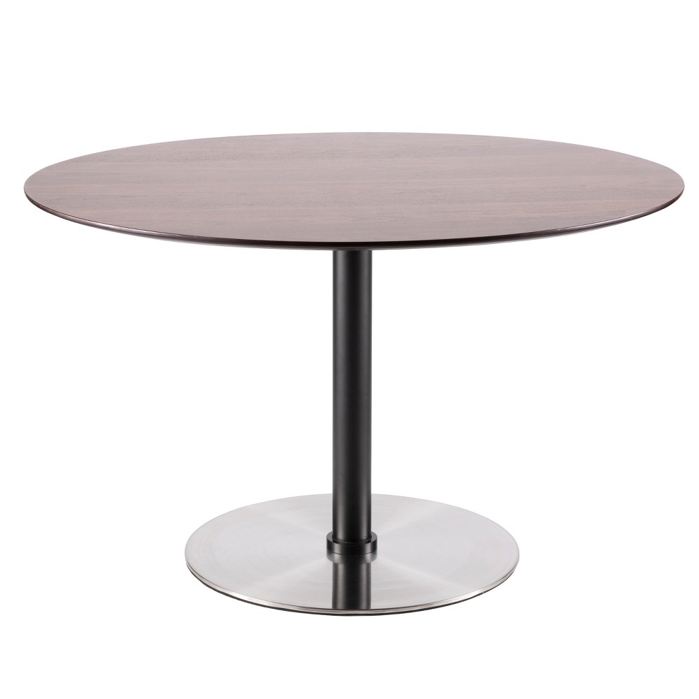 Dillon Mid Century Modern Dining Table Walnut (Brown) Stainless Steel - Lumisource