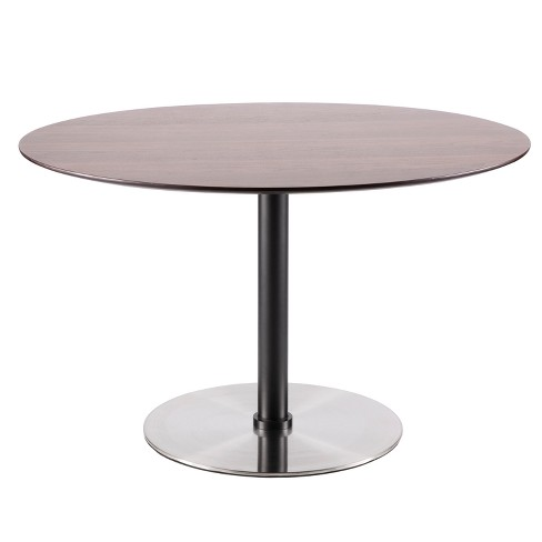 Dillon Mid Century Modern Dining Table Walnut Stainless Steel - Lumisource - image 1 of 4