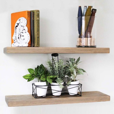 Willow & Grace Connie Display Decor Floating Wood Shelves with Iron Corners for Kitchen, Bedroom, & Living Room Spaces, Set of 2