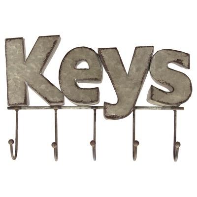 Metal Keys Wall Hook Silver (10 x6 )- VIP Home & Garden
