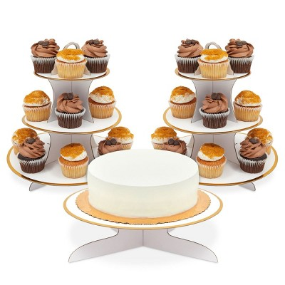 Sparkle and Bash 3 Pack 3-Tier Cardboard Cupcake Stand (12 x 12 in, White)