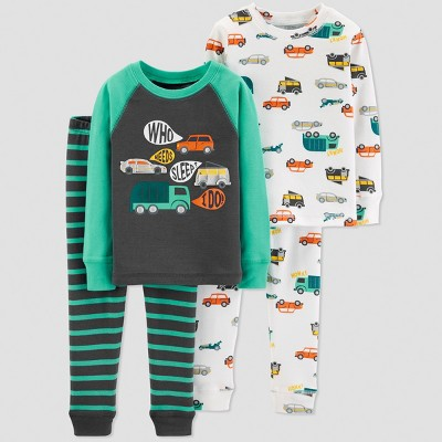 Baby Boys' Transportation 4pc Pajama Set - Just One You® made by carter's Blue 18M
