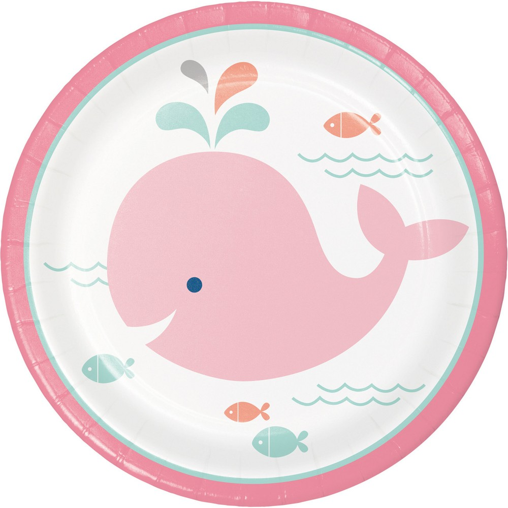 Image of 24ct Pink Baby Whale Dessert Plates Pink