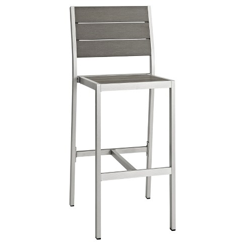 Shore Outdoor Patio Aluminum Armless Bar Stool in Silver Gray - Modway - image 1 of 4
