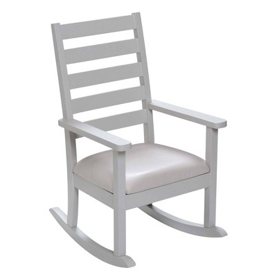 Kids' Ladder Back Rocking Chair with Leatherette Upholstered Seat White - Gift Mark