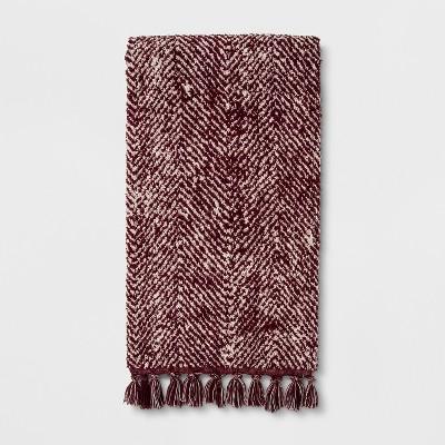 Herringbone with Fringe Bath Towel Berry - Threshold™