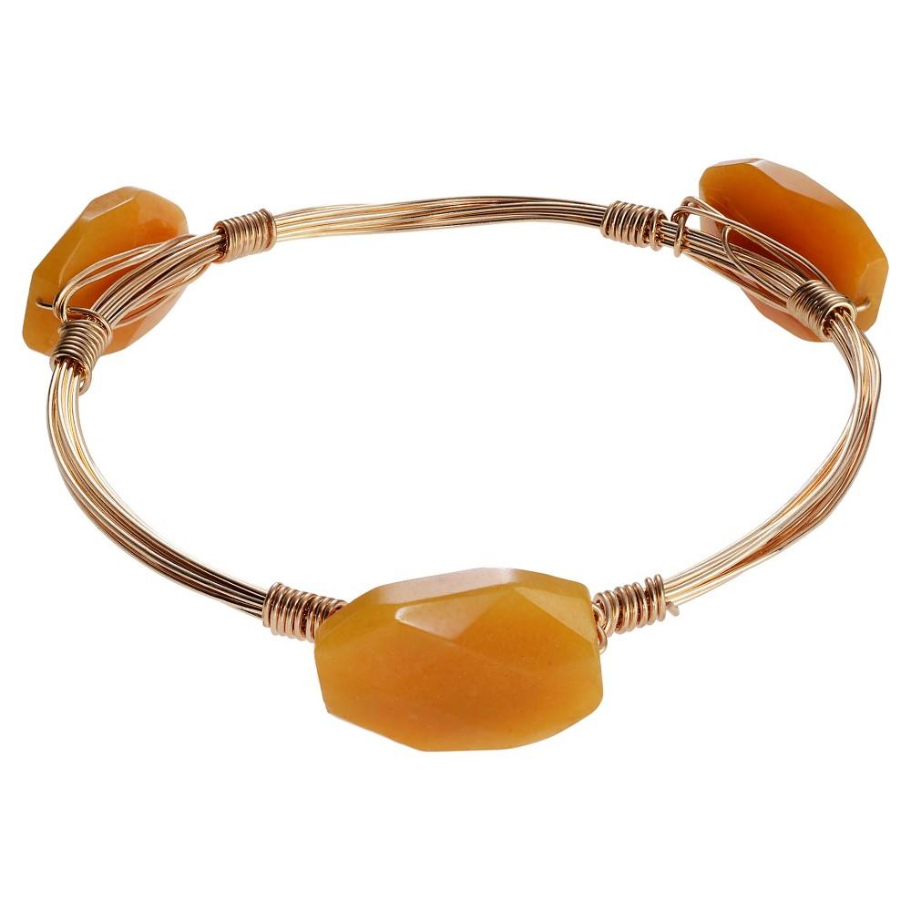 Women's Journee Collection Base Metal Glass Stone Bangle Bracelet - Yellow (8)