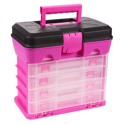 Juvale Storage and Tool Box, Durable Organizer Box with 4 Removable Drawers 13 Compartments for Beads and DIY Craft Accessories (Pink)