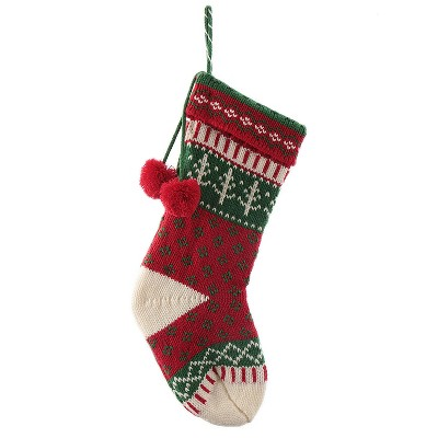 20  Knit Fair Isle Christmas Stocking Red/Green/White - Wondershop™