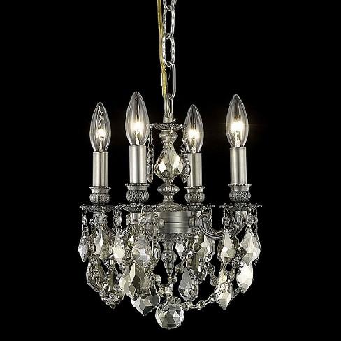 Elegant Lighting 9104D10PW-GT Lillie 4-Light, Single-Tier Crystal Chandelier, Finished in Pewter - image 1 of 1