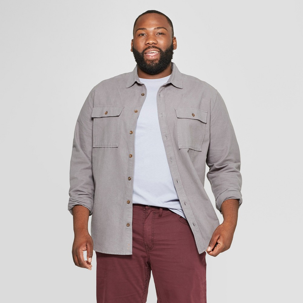 Men's Big & Tall Long Sleeve Pocket Flannel Button-Down Shirt - Goodfellow & Co Thundering Gray 3XB