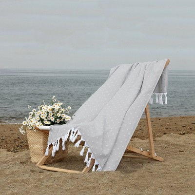 Ephesus Pestemal Beach Towel Polka Dots Stone Gray - Linum Home Textiles