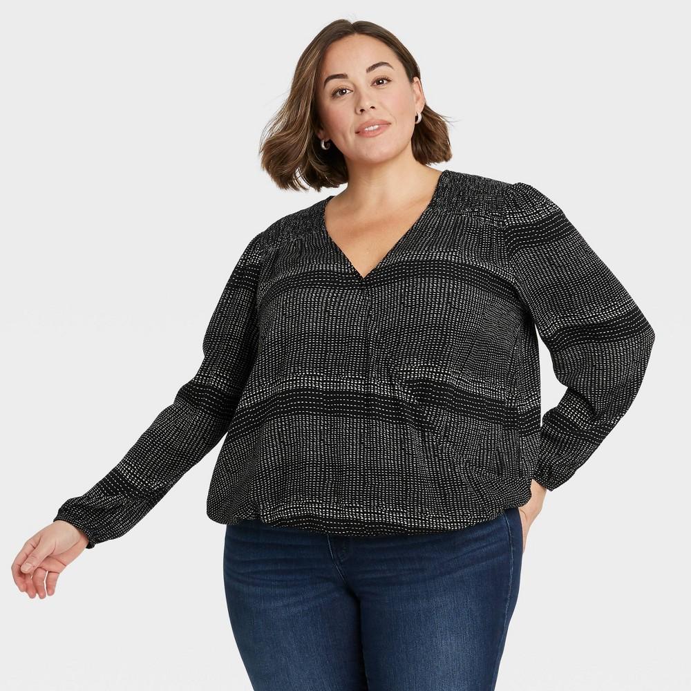 Women 39 S Plus Size Striped Long Sleeve Top Knox Rose 8482 Black 2x