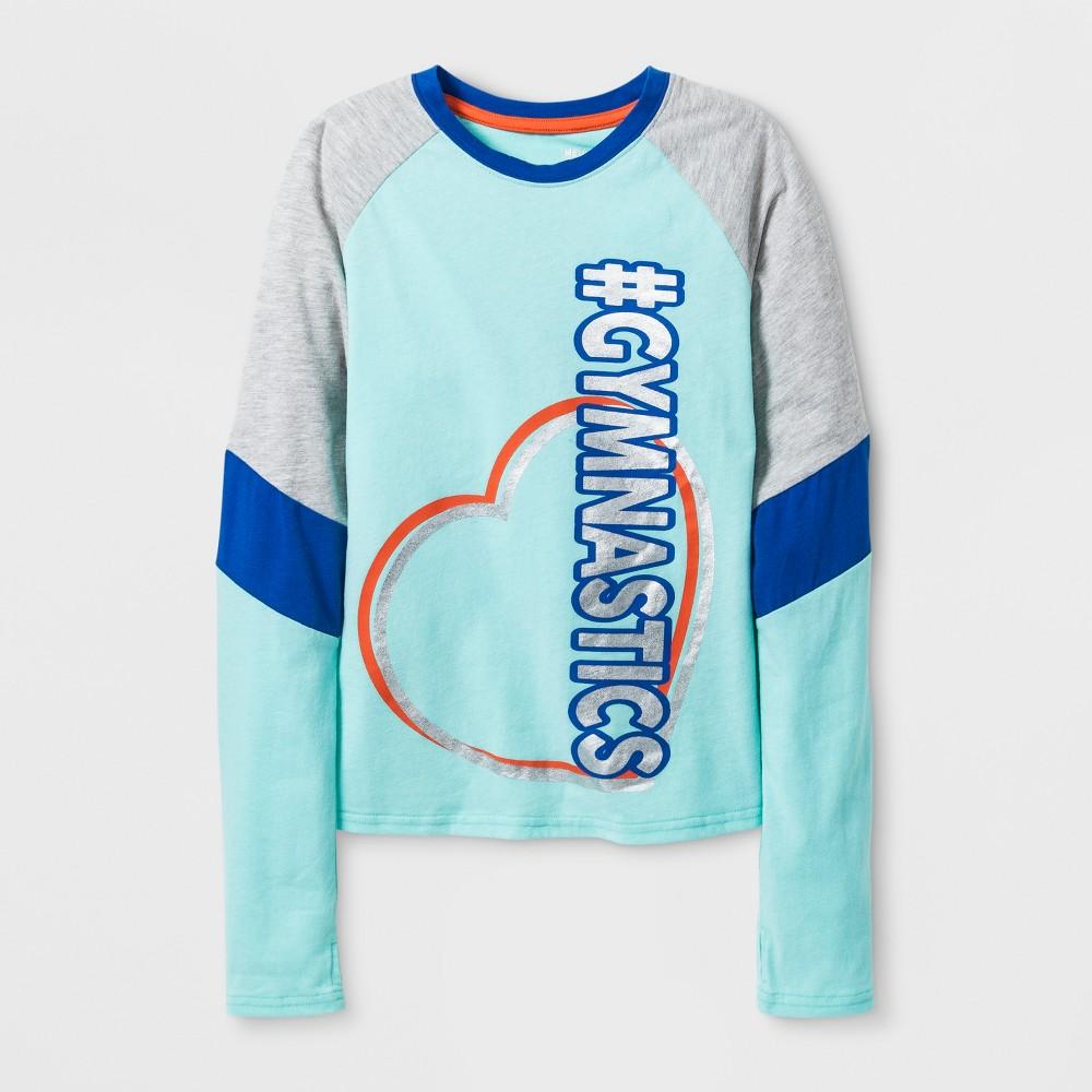 Girls' Long Sleeve Dance Activewear T-Shirt - Turquoise S, Blue
