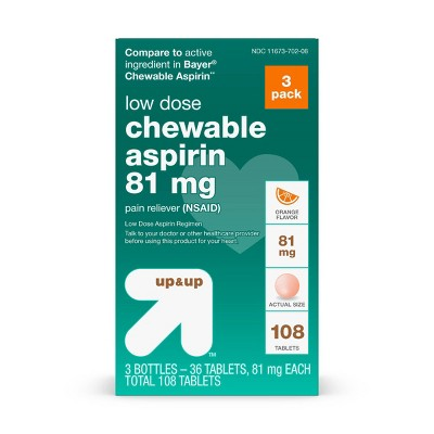 Aspirin (NSAID) Pain Reliever Chewable Tablets - Orange - 36ct/3pk - up & up™