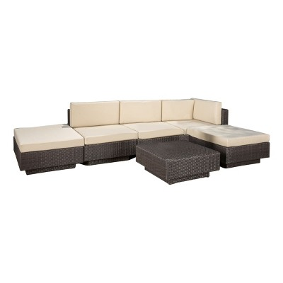 Santorini 6pc Wicker Patio Sofa Set with Cushions - Brown - Christopher Knight Home