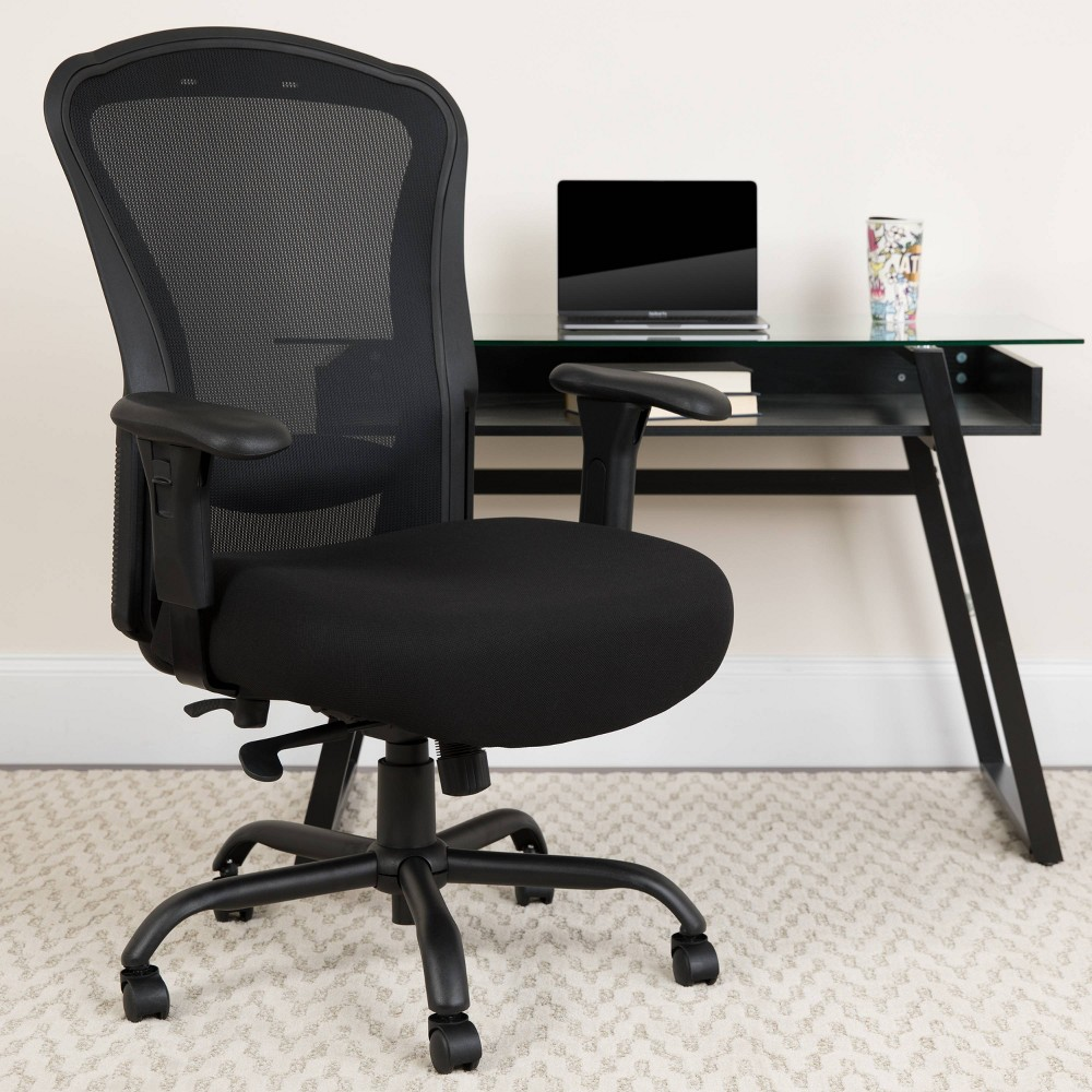 Image of 24/7 Intensive Use Big & Tall 400 Lb. Rated Mesh Multifunction Swivel Ergonomic Office Chair with Synchro Tilt Black - Riverstone Furniture