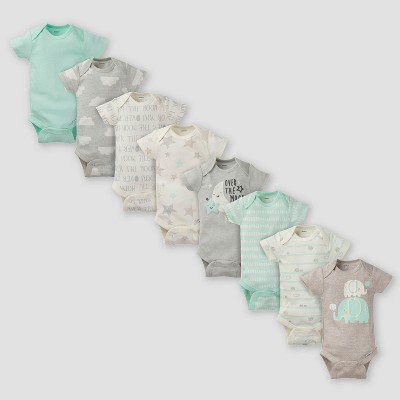 Gerber Baby 8pk Elephants Short Sleeve Onesies Bodysuit - Green 0-3M