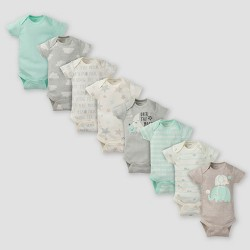 Gerber Baby 8pk Elephants Short Sleeve Onesies Bodysuit - Green 12M