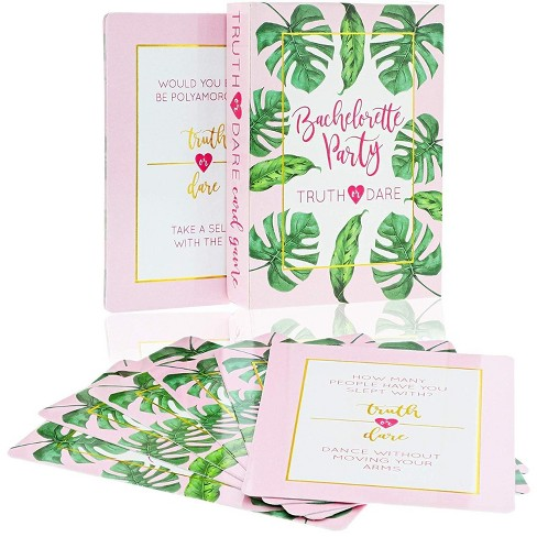 Truth or Dare Game, 40-Piece Bachelorette Party Card Games for Adults, Girls Night Out, Bridal Shower, Tropical Palm Leaves Design - image 1 of 4