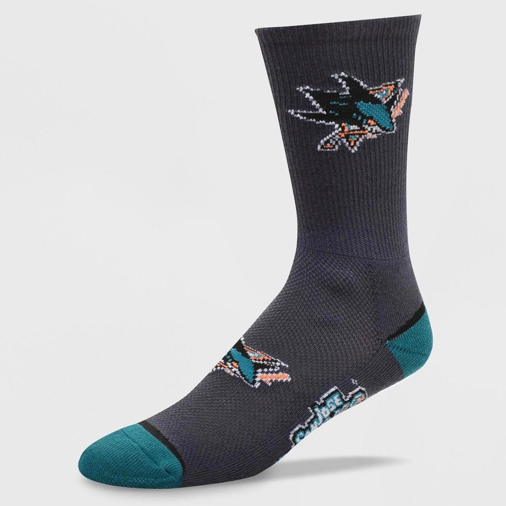 NHL San Jose Sharks Mesh Charcoal Crew Socks, Men's, Size: Large