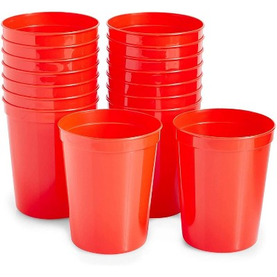 Juvale 16-Pack 16 oz Reusable Plastic Cup Party Tumblers Stadium Cups, Red