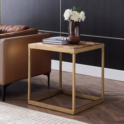 Darheath Reclaimed Wood Patchwork End Table Natural/Brass - Aiden Lane