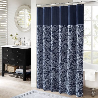 Charlotte Jacquard Shower Curtain Navy