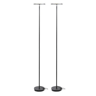 Brightech Logan Arc Standing Floor Lamp with LED Bulb, Drum Shade, and Marble Base for Living Room, Bedroom, Home Office, or Dorm Room, Black (2 Pack)