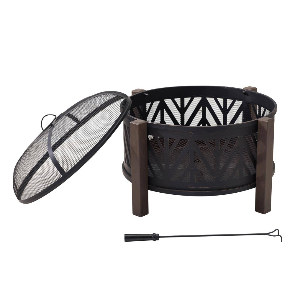 "Image of ""Pacific 27"""" Steel Deep Bowl Outdoor Fire Pit Black - Sunjoy"""