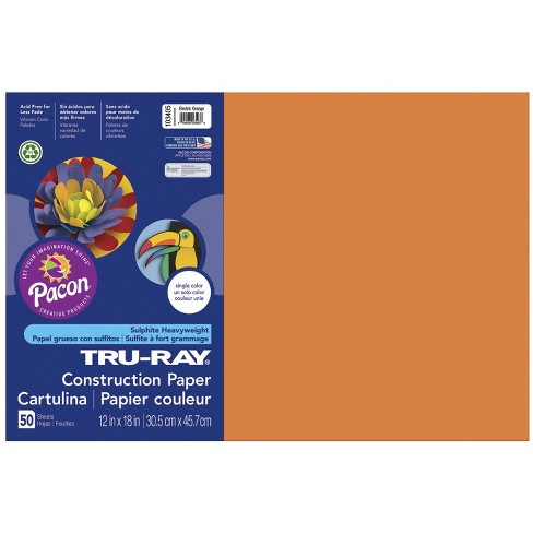 Tru-Ray Sulphite Construction Paper, 12 x 18 Inches, Electric Orange, 50 Sheets - image 1 of 2