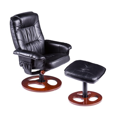 Remarkable Locke Faux Leather Swivel Recliner With Ottoman Black Aiden Lane Ncnpc Chair Design For Home Ncnpcorg