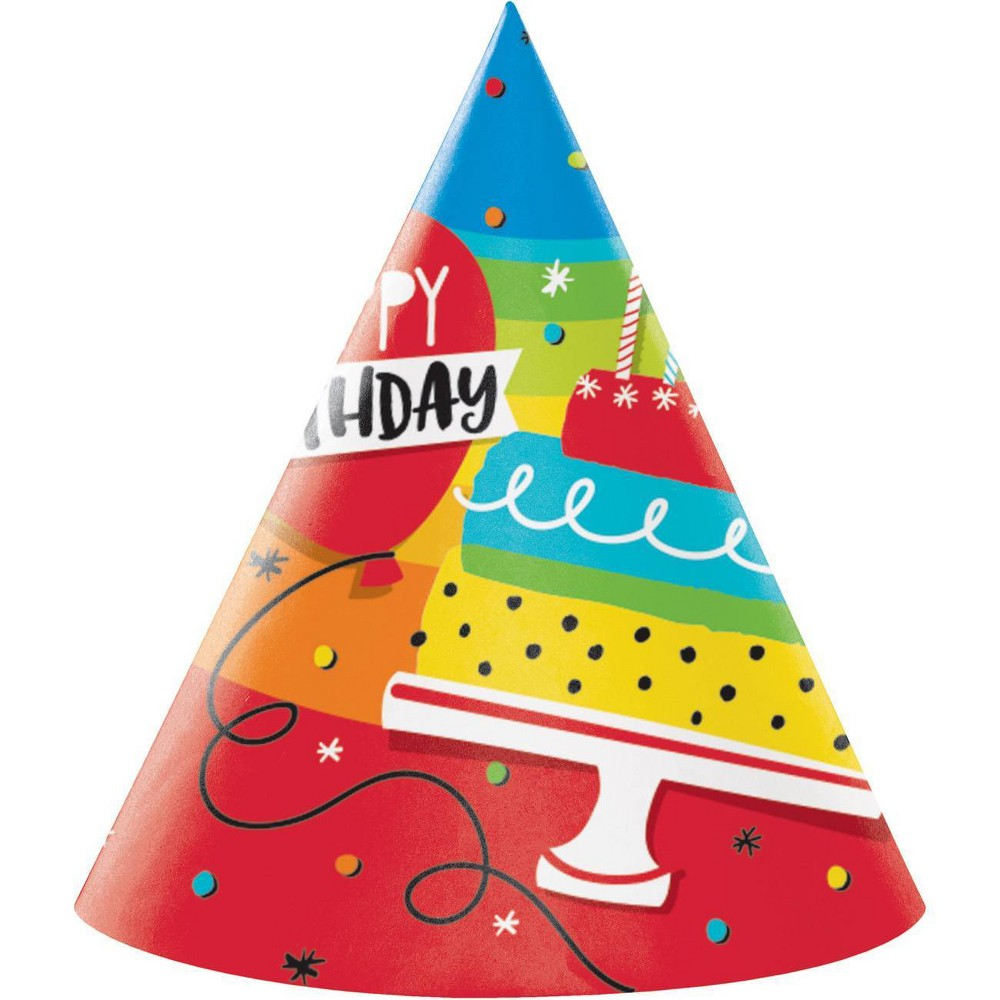 Image of 24ct Rainbow Cake Party Hats
