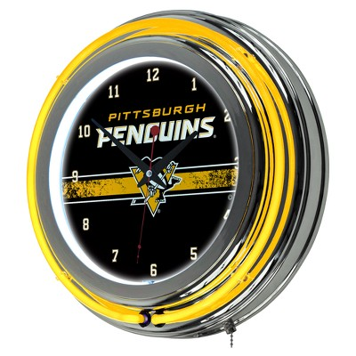 NHL Pittsburgh Penguins Chrome Double Rung Neon Clock
