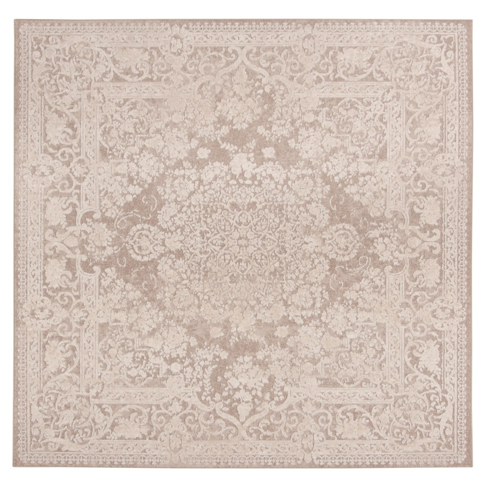 Beige/Cream (Beige/Ivory) Medallion Loomed Square Area Rug 6'7
