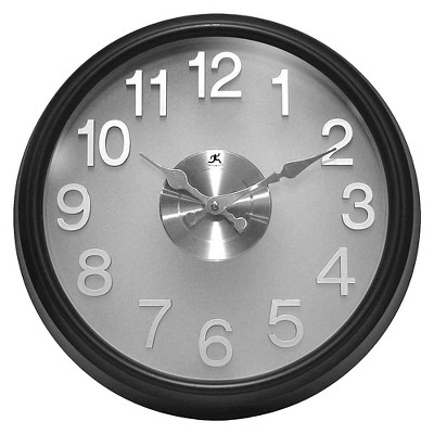 """15"""" The Onyx Round Wall Clock Black & Silver - Infinity Instruments"""
